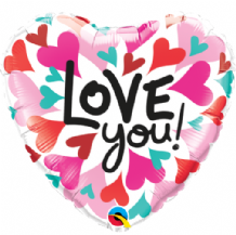 "Love You Converging Hearts Foil Balloon (18"") 1pc"
